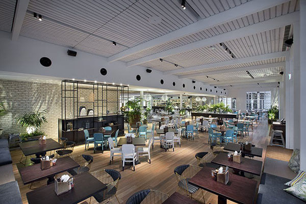 interior dining and lighting area of restaurant