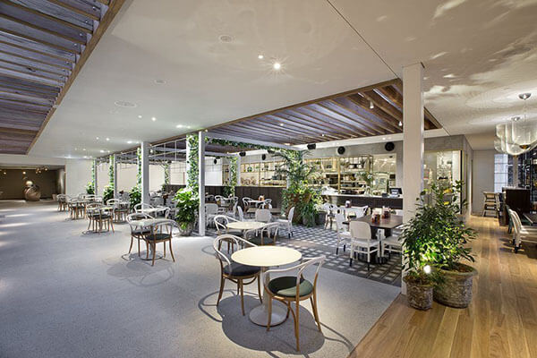 the garden bar dining area