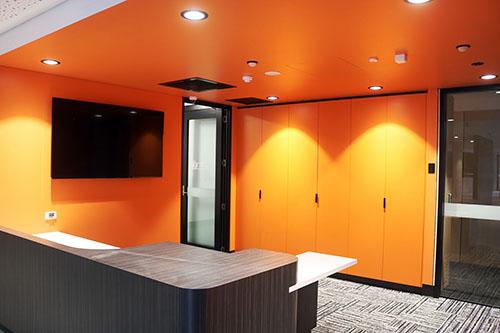 arcadia college orange room with lights on