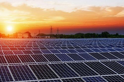 Solar Farm at Sunset